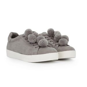 Sam Edelman Circus Sneakers Grey with Pom Poms